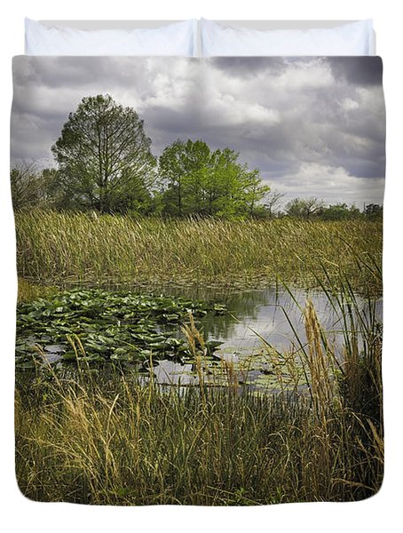 Blue Cypress Wetlands Duvet Cover by Fran Gallogly