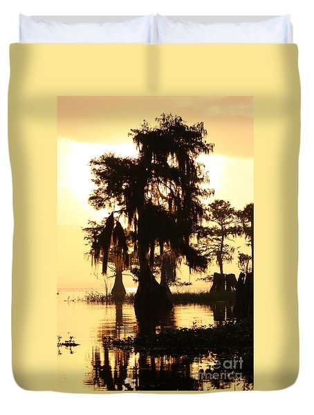 Duvet Cover featuring the photograph Blue Cypress Yellow Light by Paul Rebmann