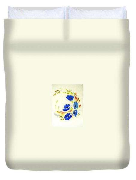 Duvet Cover featuring the painting Blue Dance by Dorothy Maier