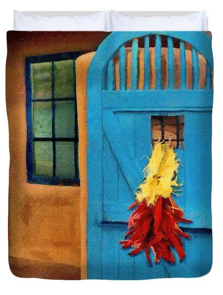 Blue Door And Peppers Duvet Cover by Jeffrey Kolker