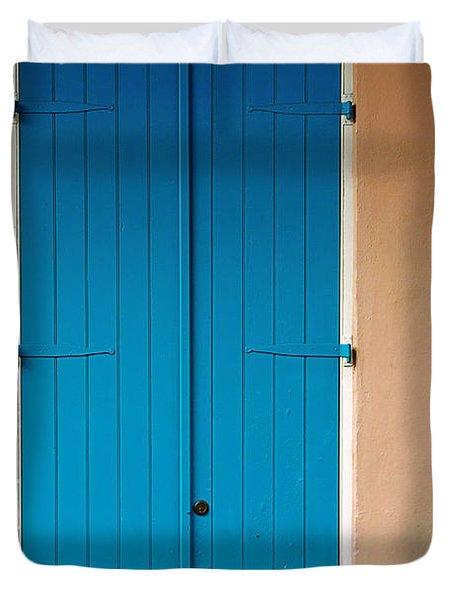 Blue Door In New Orleans Duvet Cover by Christine Till