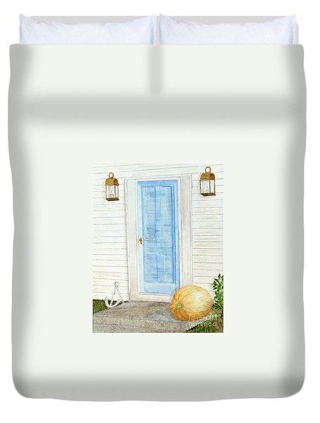 Blue Door With Pumpkin Duvet Cover