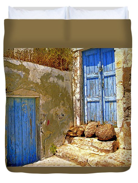 Blue Doors Of Santorini Duvet Cover