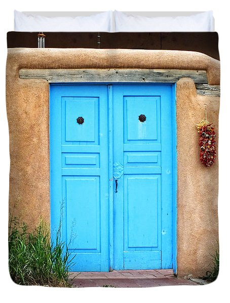 Blue Doors Of Taos Duvet Cover by Lucinda Walter
