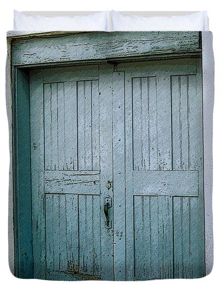 Blue Doors On Brewer Street Duvet Cover