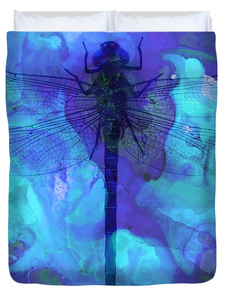 Blue Dragonfly By Sharon Cummings Duvet Cover