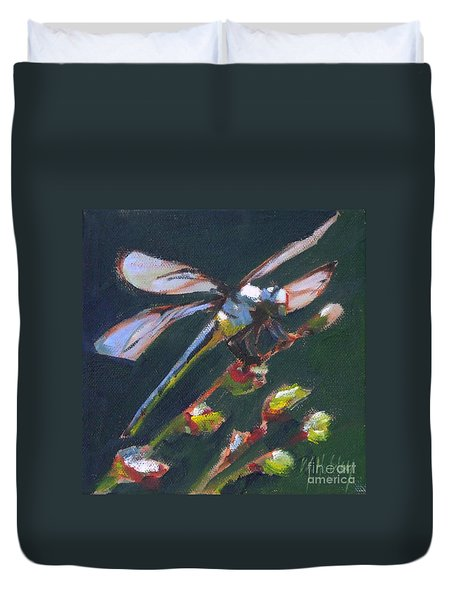 Blue Dragonfly Duvet Cover by Mary Hubley
