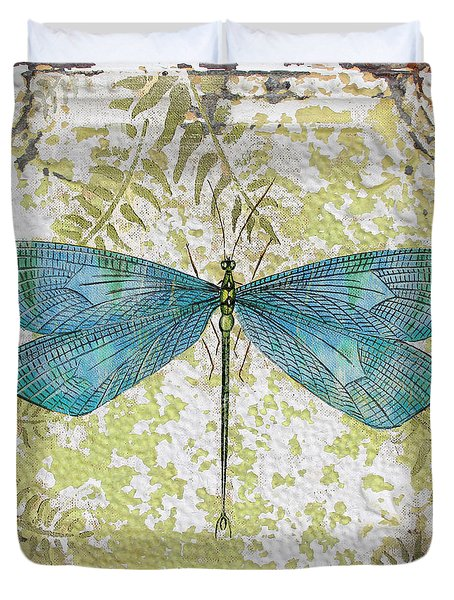 Blue Dragonfly On Vintage Tin Duvet Cover