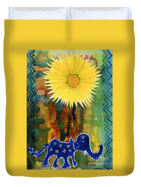 Blue Elephant In The Rainforest Duvet Cover
