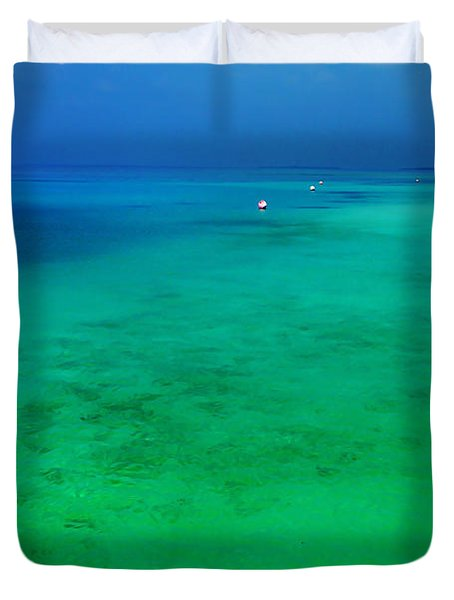 Blue Emerald. Peaceful Lagoon In Indian Ocean  Duvet Cover by Jenny Rainbow
