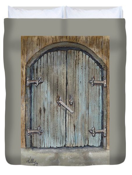 Duvet Cover featuring the painting Blue Entrance Door Has Stories by Kelly Mills