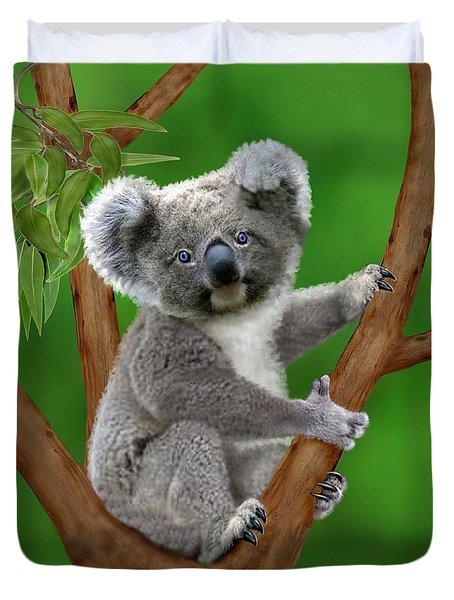 Blue-eyed Baby Koala Duvet Cover by Glenn Holbrook
