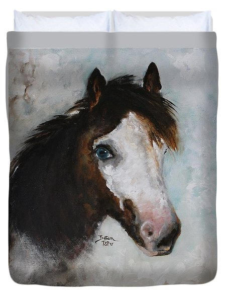 Duvet Cover featuring the painting Razzle  by Barbie Batson