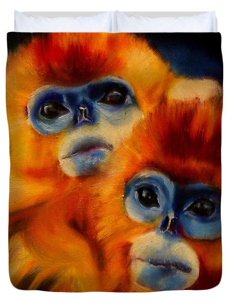 Blue Faced Monkey Duvet Cover