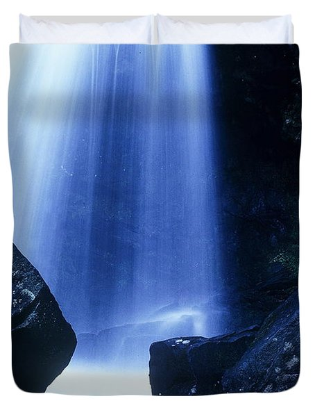 Duvet Cover featuring the photograph Blue Falls by Rodney Lee Williams