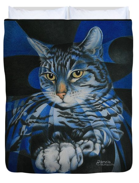 Blue Feline Geometry Duvet Cover