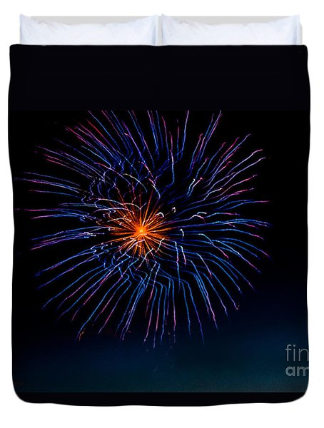 Blue Firework Flower Duvet Cover by Robert Bales