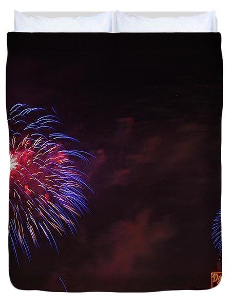 Blue Fireworks Over Domino Sugar Duvet Cover