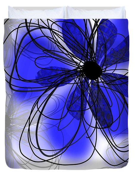 Blue Flower Collage -abstract - Art Duvet Cover