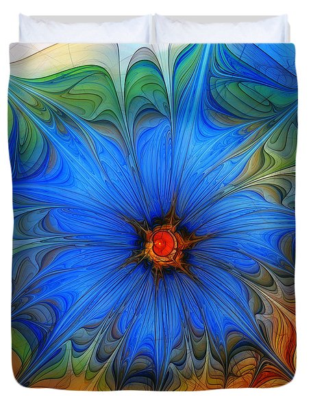 Blue Flower Dressed For Summer Duvet Cover