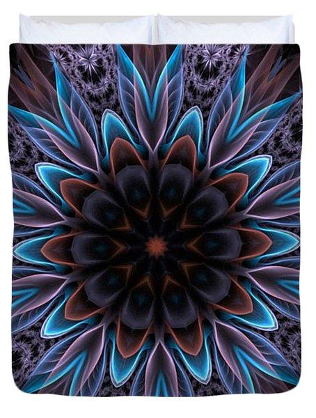Duvet Cover featuring the digital art Blue Flower by Lilia D