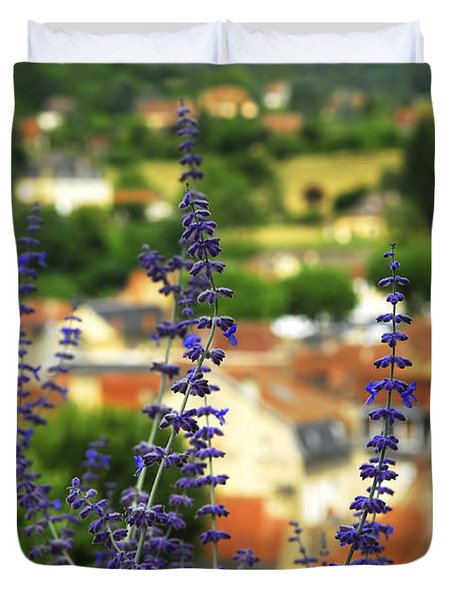 Blue Flowers And Rooftops In Sarlat Duvet Cover by Elena Elisseeva