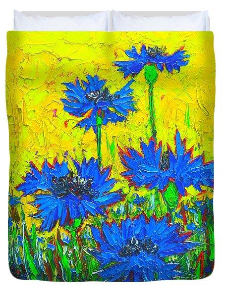 Blue Flowers - Wild Cornflowers In Sunlight  Duvet Cover by Ana Maria Edulescu