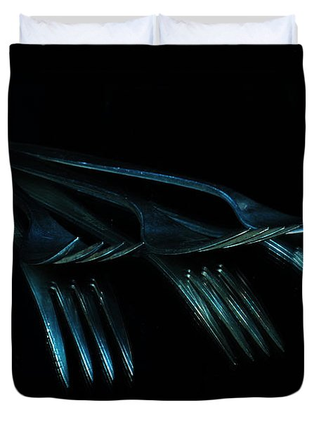 Duvet Cover featuring the photograph Blue Forks by Randi Grace Nilsberg