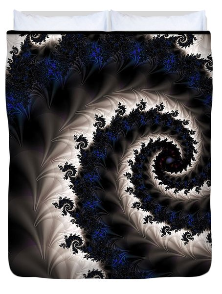 Blue Fractal Path Duvet Cover by Elizabeth McTaggart