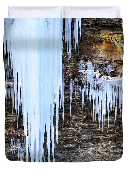 Blue Frozen Icicle Stalactites Duvet Cover