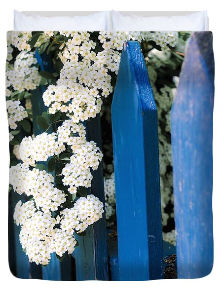 Blue Garden Fence With White Flowers Duvet Cover