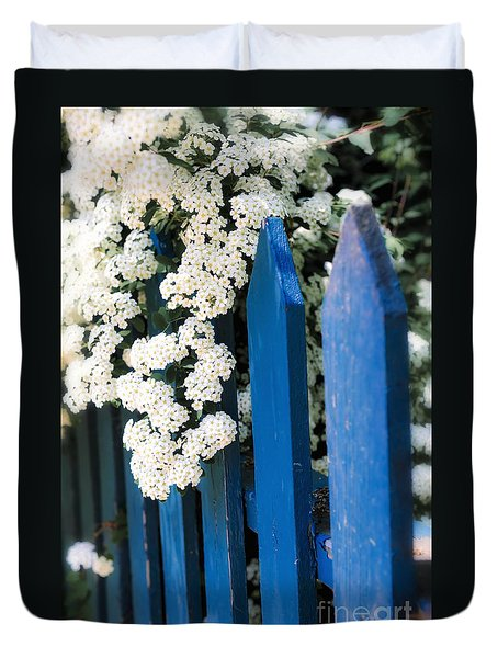 Blue Garden Fence With White Flowers Duvet Cover by Elena Elisseeva