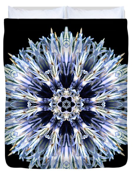 Blue Globe Thistle Flower Mandala Duvet Cover
