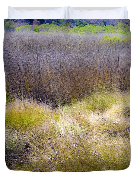 Duvet Cover featuring the photograph Blue Grass by Paula Porterfield-Izzo