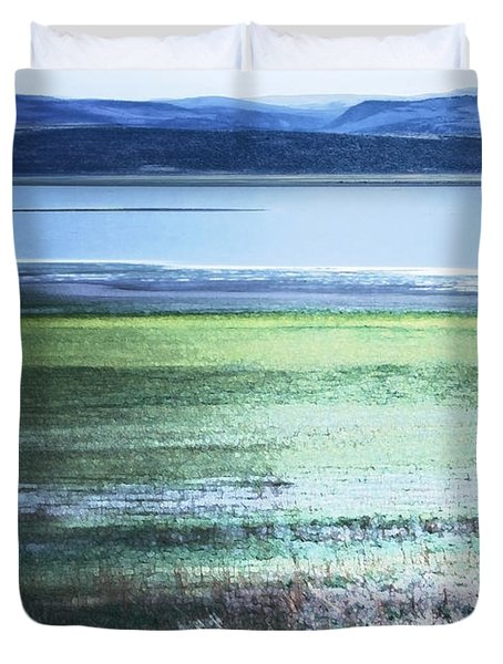 Blue Green Landscape Duvet Cover