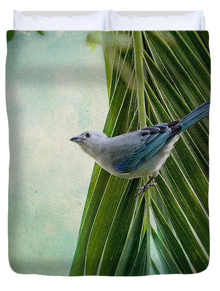 Duvet Cover featuring the photograph Blue Grey Tanager On A Palm Tree by Peggy Collins
