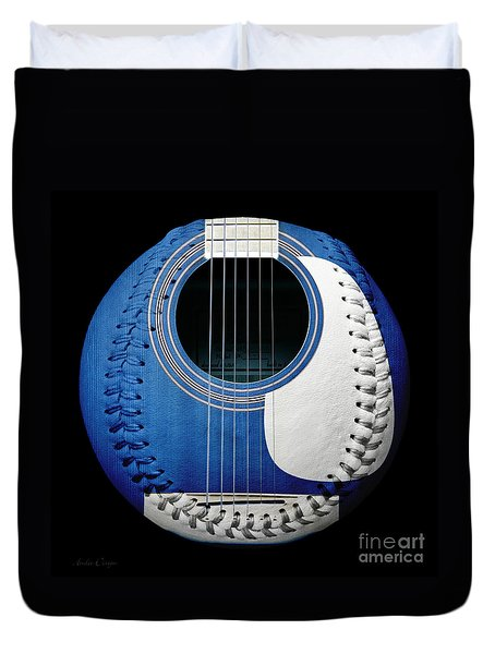 Blue Guitar Baseball White Laces Square Duvet Cover