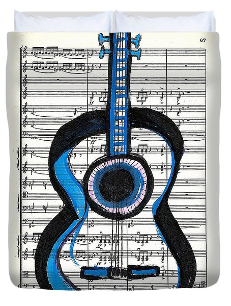 Duvet Cover featuring the drawing Blue Guitar Music by Ecinja Art Works
