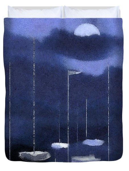 Duvet Cover featuring the painting Blue Harbor by Deborah Smith