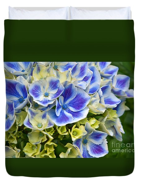 Duvet Cover featuring the photograph Blue Harlequin Hydrandea Flower by Valerie Garner