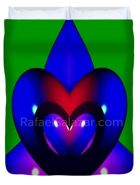 Duvet Cover featuring the painting Blue Hearts by Rafael Salazar