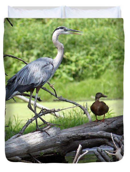 Blue Heron And Friend Duvet Cover