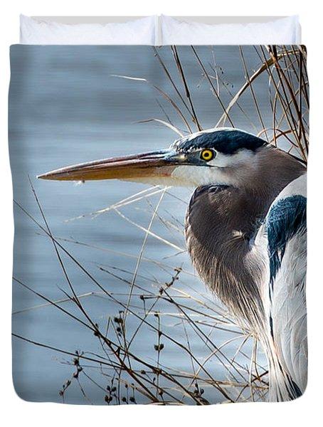 Blue Heron At Pond Duvet Cover