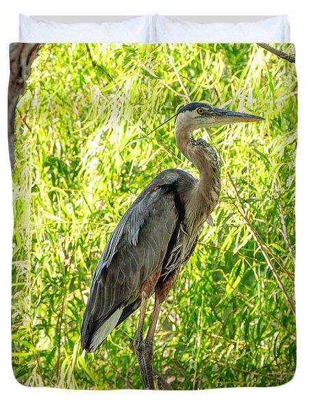 Blue Heron At Rest Duvet Cover