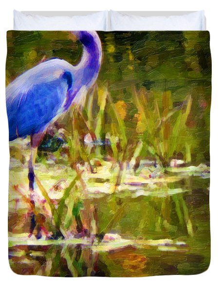 Blue Heron Duvet Cover by Chuck Mountain