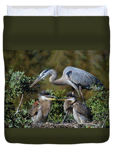 Blue Heron Family Duvet Cover