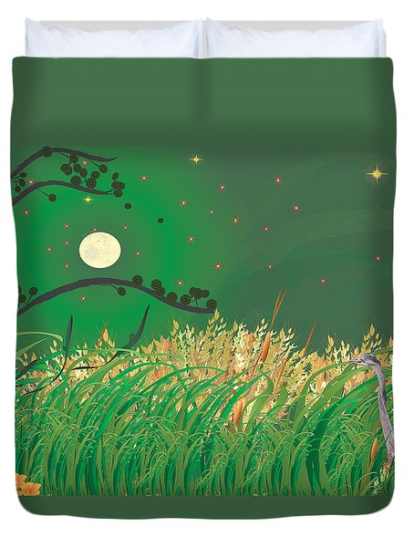 Blue Heron Grasses Duvet Cover