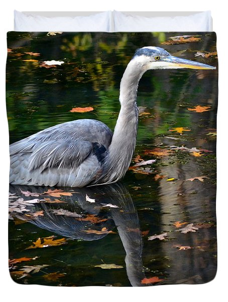 Blue Heron In Autumn Waters Duvet Cover by Frozen in Time Fine Art Photography