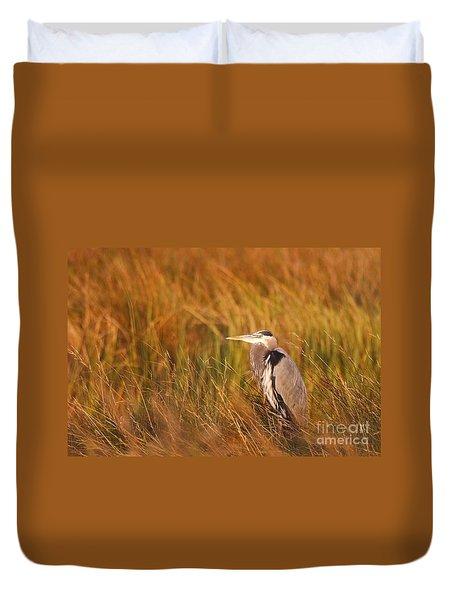 Duvet Cover featuring the photograph Blue Heron In Louisiana Marsh by Luana K Perez