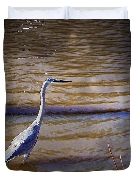 Blue Heron - Shallow Water Duvet Cover by Brian Wallace